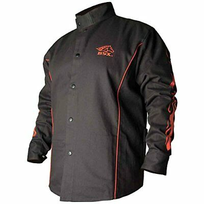 Flame-Resistant Welding Jacket - Black with Red Flames Size 2X-Large