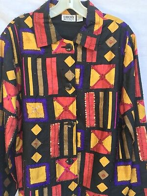Vintage  Chico's Size 1 Silk Colorful  Jacket With Beads Scattered All Over.