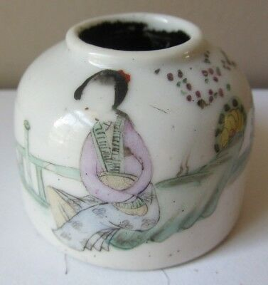 SMALL Antique 19th Century CHINESE Scholar's INK POT Rose Famille PORCELAIN