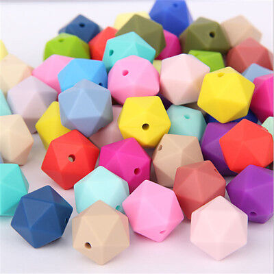 10X Hexagon Silicone Teething Molar Beads Baby Teether Jewelry Necklace BPA Free