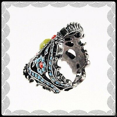 Gothic medieval Victorian style silver-tone filigree ring multi-color stones S 7