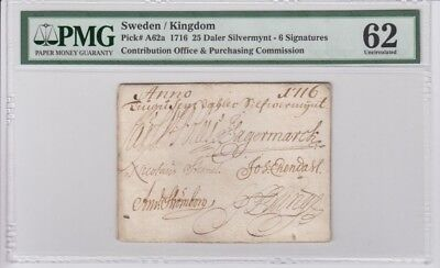 Sweden 25 daler 1716 very early banknote