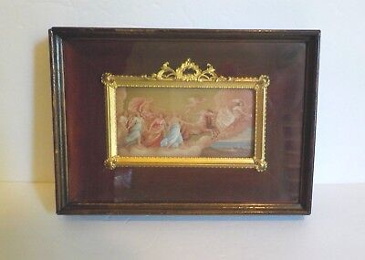 19th C. French Dore Bronze Frame Miniature Portrait in Shadowbox Frame (#5)