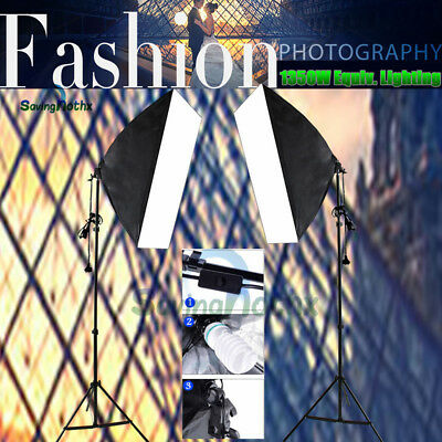 Studio Continuous Lighting Softbox 2X135W Photography Soft Box Light Stand KIT