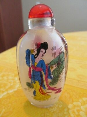 Vintage Chinese Reverse Hand Painted Glass Snuff Bottle-Geisha Design-China-EUC