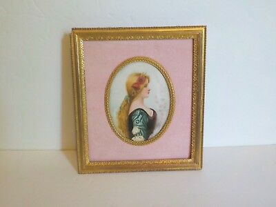 19th C. French Dore Bronze Frame Miniature Portrait, Signed (#6)