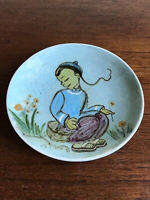 Vintage Martin Boyd Signed Wall Plaque / Dish Hand Painted Chinese Child