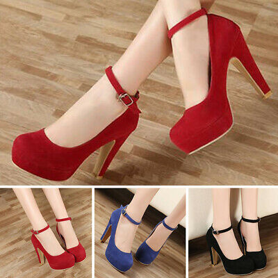 Fashion Wedding Party Ankle Strapy High Heels Womens Work Pumps Court Shoes Size