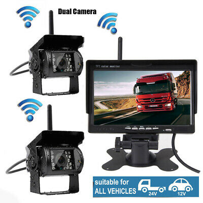 """Wireless 7"""" HD Monitor Rear View System IR CCD 2*Camera For Truck RV BUS Trailer"""
