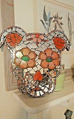 Mosaic mirrored day of the dead sugar skull pit bull pitbull plaque wall art