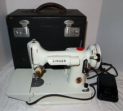 Vintage White - Mint Green Singer Featherweight Sewing Machine with Case 221K