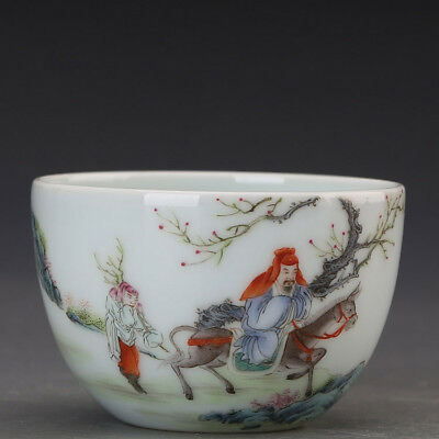 China old antique Porcelain Qing yongzheng famille rose donkey characters Cup
