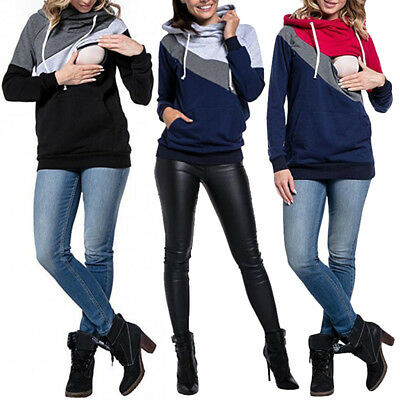 Women Maternity Clothes Breastfeeding Tops Hoodie Pregnancy Nursing Jumper Tops