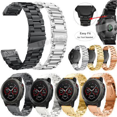 For Garmin Fenix 3 HR 5 5S 5X Plus/S60 Stainless Steel Quick Easy Fit Watch Band