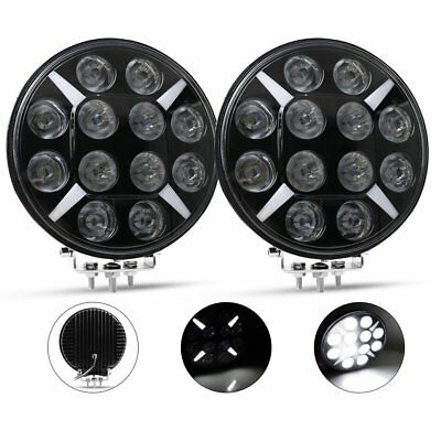 PAIR 9 inch CREE SPOT LED Driving Lights 4x4 Round Spotlights RED With DRL