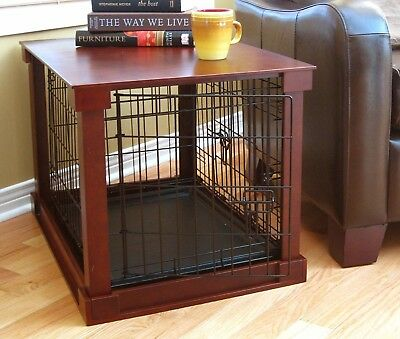 Pet Crate End Table Steel Wood Cover Dog Cat Kennel Indoor Shelter Cherry  Medium