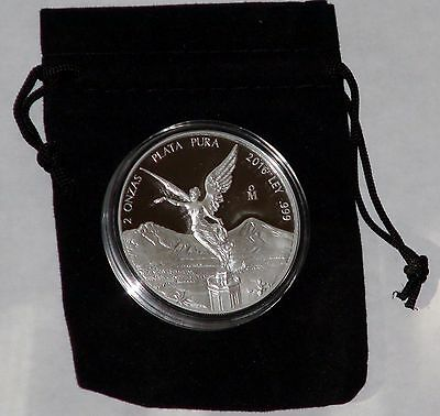 2016 2 oz Silver Mexico Libertad Proof Coin in Mint Capsule with free velvet bag
