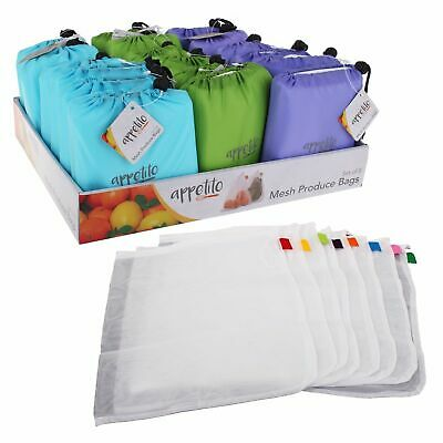 NEW APPETITO REUSABLE PRODUCE BAGS Fruit Vegetable Bag Keeper Eco Mesh SET 8