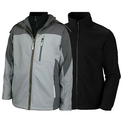 Men 3in1 Soft Shell Interchange Double Jacket with Removable Inner Fleece