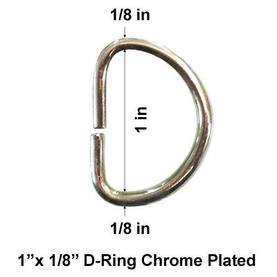 1''x 1/8'' Quality D-Ring Metal Chrome Plated for Bag Straps Buckle