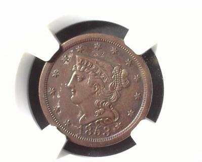 1853 Braided Hair Half Cent C-1 NGC AU Details Improperly Cleaned 2041810-073