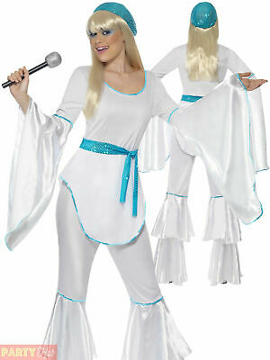 Ladies Super Trooper  Costume Eurovision 1970s Disco Fancy Dress Womens Outfit