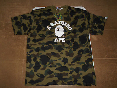 025705982e13 Authentic A Bathing Ape Bape 1St Camo College Tee T Shirt Green 2Xl 3Xl New