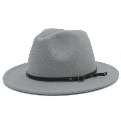 Vintage Unisex Winter Wool Blend Wide Brim Fedora Panama Hat Dad Church Jazz Cap