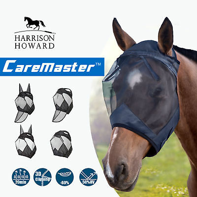 Harrison Howard CareMaster Pro Fly Mask Full Face No Ears Piano Black M; Cob