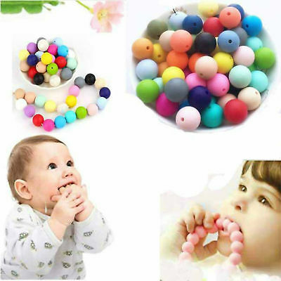 20X Baby BPA Free Silicone Beads Teething Necklace Nursing Teether Multi-Color