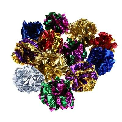 12PCS Pet Cat Dog Crinkle Foil Toys Ball Cat Dog Interactive Touch Sound Toy USA