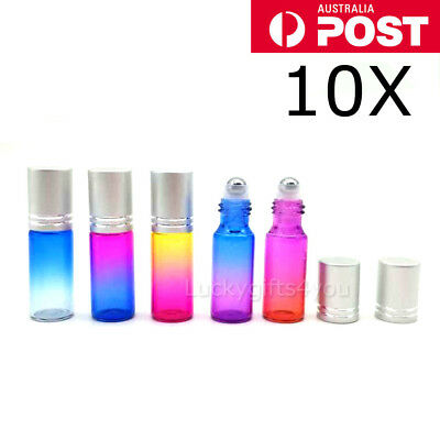 NEW 10PCS 5ml Thick Gradient Glass Roll On Bottles Steel Roller Essential Oil AU