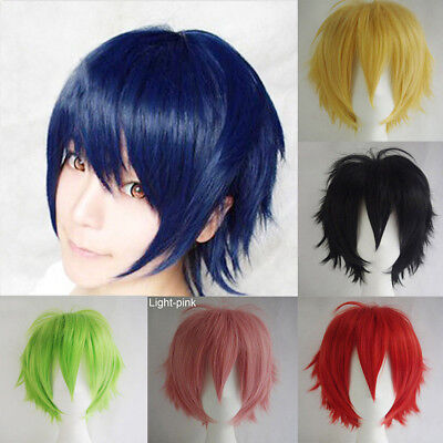 Multi Colors Short Straight Hair Wig Anime Party Cosplay Full Wigs+Cap 35cm CHW