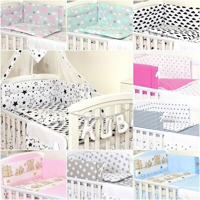 Nursery Padded Bumper, Bedding Set For Cot & Cot Bed ,4, 6,11, Canopy-100%Cotton