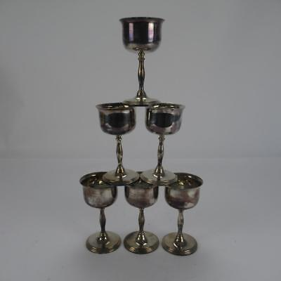 Set of 6 Matching Cavalier Goblets - Silver Plated on Brass - Made in England