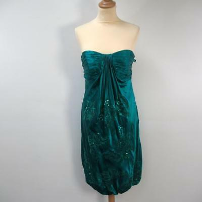 Monsoon Evening Party Dress - Marine Green with Sequins with Store Tags - UK 10