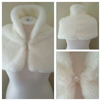 Debut Ivory Faux Fur Shrug Bridal Bridesmaid Communion Occasion Winter Warm