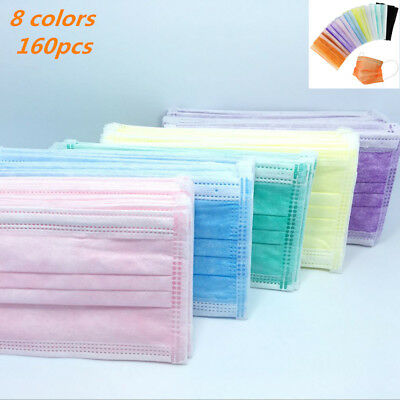 COCECA 160pcs Surgical Mask 8 Colors Earloop Disposable for Medical Allergy