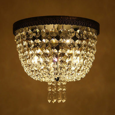 Vintage Bedroom Lamp Round Canopy Clear Crystal Small Flush Ceiling-Mount Light