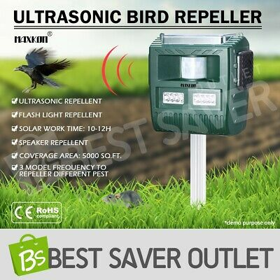 Ultrasonic Bird & Animal Pest Repellent Repeller With Large Solar Powered Plate