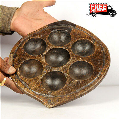 1850's Indian Hand Carved Black Stone Kitchenware Idli Mould Plate Egg Tray 7103