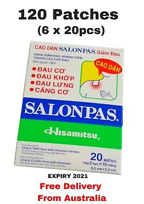 120 Patches Salonpas Hisamitsu Pain Relieving Patch (6 x 20 PACK) Arthritis