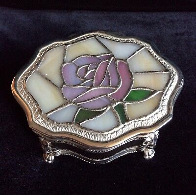 Vintage Silver Plated Jewellery Box With Stained Glass Lid, Rose, Lion Feet