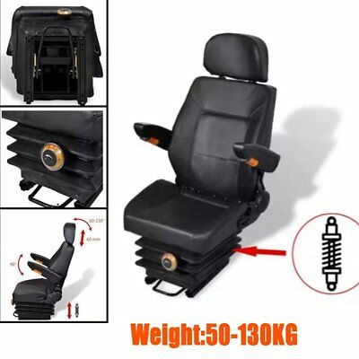 Tractor Seat with Suspension Arm Rest Head Rest with Spring Tracks Forklift PVC