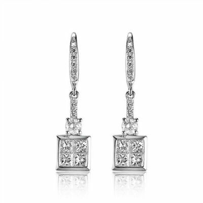 18ct White Gold Stunning Natural Top Quality Diamond Earrings VS Beauty