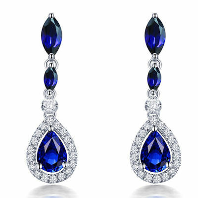 18ct White Gold Stunning Natural Sapphires & Top Quality Diamond Earrings VS