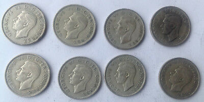 FREE SHIPPING  SILVER coins   8   1945  UK  Florin two Shilling