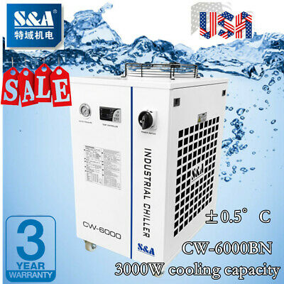 S&A CW-6000BN Industrial Water Chiller for 30W-300W Fiber Laser Cooling 220V USA