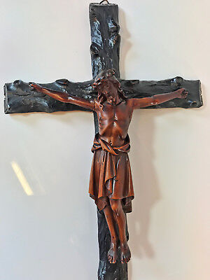 Antique 19th Century Black Forest Hand Carved Jesus Christ Holy Cross Crucifix