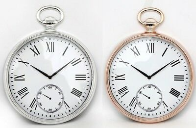Large 38cm Silver / Copper Roman Numerals Round Pocket Watch Style Wall Clock